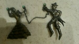 Silver dancers with stone, vintage