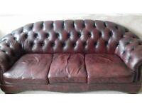 Chesterfield Leather 3 Seat Sofa