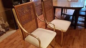 Set of 6 metal & wicker dining table chairs.