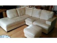 Large Cream L Shaped Sofa