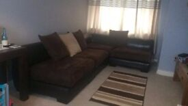 Corner sofa brown leather and suade 4 pieces