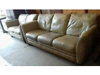 Large brown leather two and three seater sofa suite £120