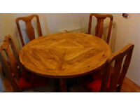 segusino round mexican4 chair 120cmx120cm mexican trunk 90cmx90cm great condition £80 table £70trunk