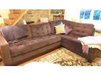 This Weekend Only. Moving. Lush Modern Brown Velvet Corner Sofa