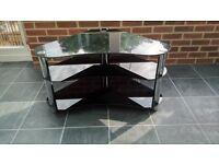 Black glass/chrome corner TV/Home cinema stand