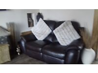 3-2 brown leather sofas
