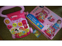VTECH FIRST STEPS PINK BABY WALKER with original box 6-30 month