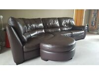 Natuzzi sofa and ottoman - brown leather great condition