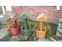 Bird table planters and wishing wells