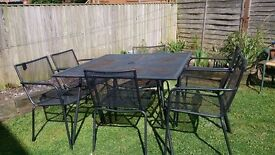Metal Garden Table with 6 Chairs