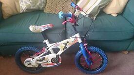 "Avigo child boy bicycle (record breaker theme) 14""wheel bike with detachable stabilisers, hove"