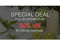30% off massage until November 6th