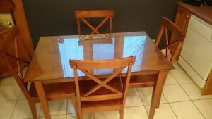 Solid Wood Table Set Plus Glass Top