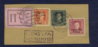 Western Ukraine stamps Kolomyia 30 sot Stanislau issue errors without H.