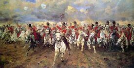 Large Vintage framed art print 'Charge of the Greys - Scotland Forever'