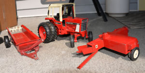 Toy Metal Tractor and 2 Farm Implements