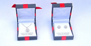 Sterling Diamond Necklace and Matching Stud Earrings