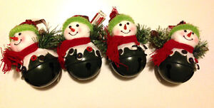 4 Snowman Bell Ornaments - Green - Never used