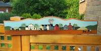 """Hand Painted VILLAGE SCENE Wood Sign - 37"""" x 8"""""""