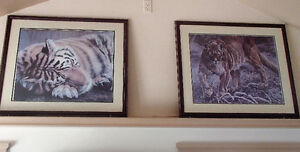 """Framed Gail Adams prints """"Majestic Prowl"""" and  """"Sleeping Beauty"""""""