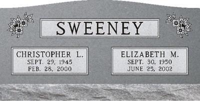 Granite Headstone Grave Marker Gray-Slant -companion multiple engraving options