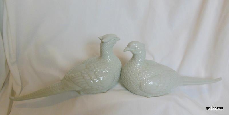 """Set of 2 White on White Ceramic Pheasants 11 x 5"""""""