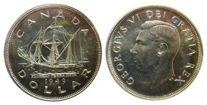 ICCS GRADED. GENUINE SILVER 1949  CANADA $1 ONE DOLLAR COIN
