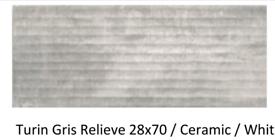 28x70cm Turin gris ceramic wall tile £8.00m2