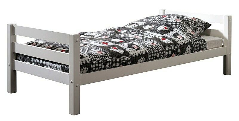 Einzelbett 90x200cm massiv, weiß lackiert Jugendbett Kinderbett Gästebett Bett