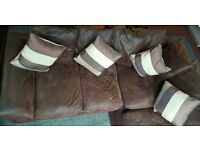 BROWN CORNER SOFA WITH CUSHIONS