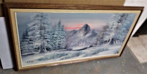 PAINTING - Nice Framed Winter Scene Painting by W. HENRY
