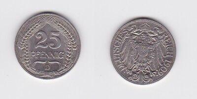 25 Pfennig Nickel Münze Deutsches Reich 1909 D  (122925)