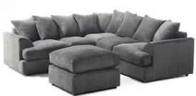EXPRESS DELIVERY ALL UK | LIVERPOOL CORNER SOFA IN JUMBO CORD GREY | 1 YEAR WARRANTY