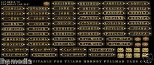 TRIANG HORNBY PULLMAN CAR NAMES / No's RENAMING KIT