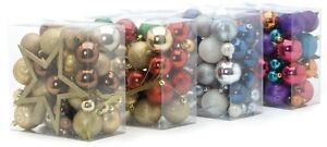 Set of 50 Gold Red & Green Tree Decoration Christmas Baubles  NEW  18297