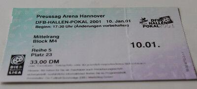ticket DFB Hallen Pokal 2001 Hannover HSV Ahlen Werder Schalke Bochum Wolfsburg, usado segunda mano  Embacar hacia Argentina