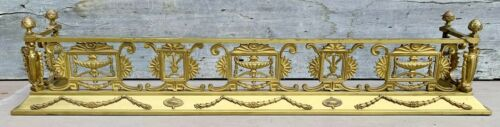 "Exceptional Antique 19th c. Neoclassical Gilt Bronze 54"" Urns Fireplace Fender"