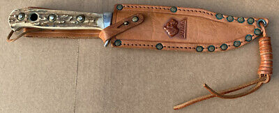 1970 Puma 6396 Bowie Knife With Stag Handles & Leather Sheath New Old Stock