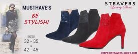 Small size 0, 0.5, 1, 2 or large shoe size 9, 9.5, 10, 11, 12? Stylish red ankle boots on heels