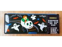 Smiggle Ghost Train Pencil Case with inbuilt Calculator and Pencil Sharpener