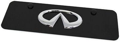 Chrome Infiniti Emblem Logo Front License Plate Frame Black Mini Small