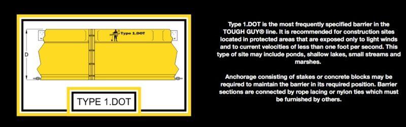 AerFlo Tough Guy Turbidity Curtain Barrier Type 1 Dot 5' X 50'13 units available