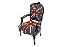 Union jack black frame french armchair