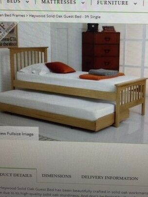 Solid Oak Single with Guest bed