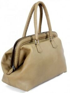Fendi-Selleria-Handbag-2200-Light-Olive-Leather-Doctor-Frame-Satchel