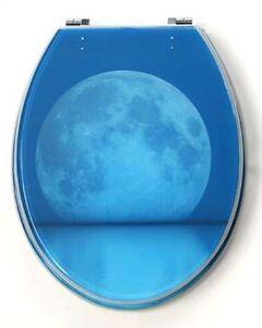 Designer Resin Toilet Seat AND Cover Gloss Finish Blue Moon EBay