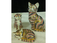 Royal Crown Derby Grey Stripe Cat and Kitten Paperweights (3) -