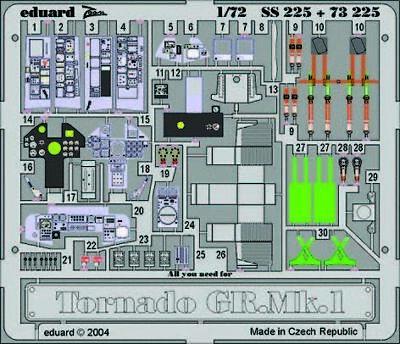 Eduard Accessories Ss225 - 1:72 Tornado Gr.Mk.1 - Ätzsatz - Neu