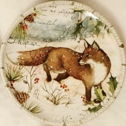 """Susan Winget Winter Lodge Fox Canape Plate 6"""" Christmas Certified Intl NOS"""