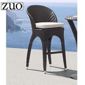 NEW ZUO CORONA BAR CHAIR 703647 185227938 OUTDOOR SYNTHETIC WEAVE ESPRESSO BEIGE